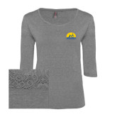 Ladies Grey Heather Tri Blend Lace 3/4 Sleeve Tee-