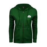 ENZA Ladies Dark Green Fleece Full Zip Hoodie-