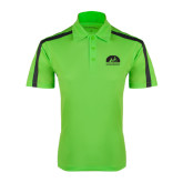Lime Green Performance Colorblock Stripe Polo-