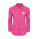 Ladies Tropical Pink Long Sleeve Twill Shirt-