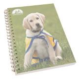 Clear 7 x 10 Spiral Journal Notebook-Gold Puppy