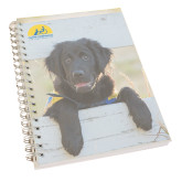 Clear 7 x 10 Spiral Journal Notebook-Dog on Fence