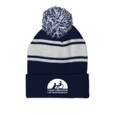Navy/White Two Tone Knit Pom Beanie w/Cuff-