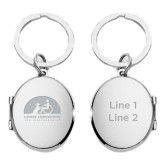 Silver Oval Locket Key Holder With Mirror-Engraved, Personalized