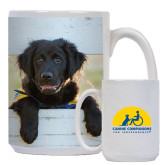 Full Color White Mug 15oz-Dog on Fence