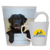 Full Color Latte Mug 12oz-Dog on Fence