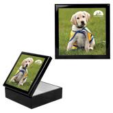 Ebony Black Accessory Box With 6 x 6 Tile-Gold Puppy
