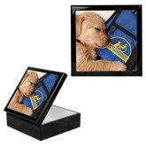 Ebony Black Accessory Box With 6 x 6 Tile-Dog Sleeping