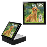 Ebony Black Accessory Box With 6 x 6 Tile-Big Dog with Puppy