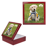 Red Mahogany Accessory Box With 6 x 6 Tile-Gold Puppy