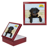 Red Mahogany Accessory Box With 6 x 6 Tile-Dog on Fence