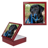 Red Mahogany Accessory Box With 6 x 6 Tile-Dog with Leash