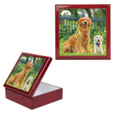 Red Mahogany Accessory Box With 6 x 6 Tile-Big Dog with Puppy