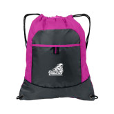 Nylon Pink Raspberry/Deep Smoke Pocket Drawstring Backpack-Official Logo