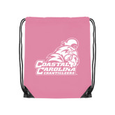 Light Pink Drawstring Backpack-Official Logo