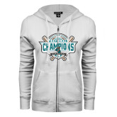 ENZA Ladies White Fleece Full Zip Hoodie-2016 NCAA Baseball National Champions