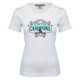 Ladies White Stretch Scoop Neck-2016 NCAA Baseball National Champions