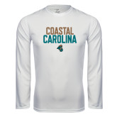 Syntrel Performance White Longsleeve Shirt-Coastal Carolina Stacked