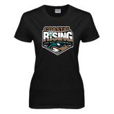 Ladies Black T Shirt-Coastal Rising - Sun Belt Conference