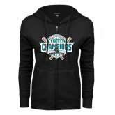ENZA Ladies Black Fleece Full Zip Hoodie-2016 NCAA Baseball National Champions