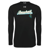 Under Armour Black Long Sleeve Tech Tee-Baseball Script w/ Bat Design