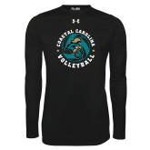 Under Armour Black Long Sleeve Tech Tee-Volleyball Circle Design