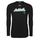 Under Armour Black Long Sleeve Tech Tee-Script Softball w/ Bat Design