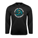 Syntrel Performance Black Longsleeve Shirt-Volleyball Circle Design
