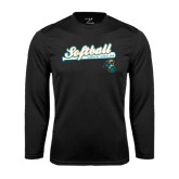 Syntrel Performance Black Longsleeve Shirt-Script Softball w/ Bat Design