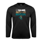 Syntrel Performance Black Longsleeve Shirt-Game. Set. Match. Tennis Design