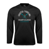 Syntrel Performance Black Longsleeve Shirt-Lacrosse Crossed Sticks Design