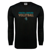 Black Long Sleeve TShirt-Volleyball Stacked