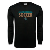 Black Long Sleeve TShirt-Soccer Stacked