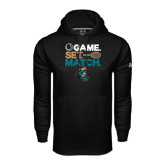 Under Armour Black Performance Sweats Team Hoodie-Game. Set. Match. Tennis Design
