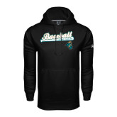 Under Armour Black Performance Sweats Team Hoodie-Baseball Script w/ Bat Design