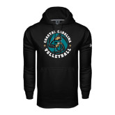 Under Armour Black Performance Sweats Team Hoodie-Volleyball Circle Design