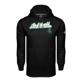 Under Armour Black Performance Sweats Team Hoodie-Script Softball w/ Bat Design