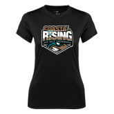 Ladies Syntrel Performance Black Tee-Coastal Rising - Sun Belt Conference