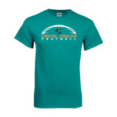 Teal T Shirt-Arched Football Design