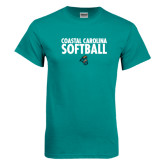 Teal T Shirt-Softball Stacked