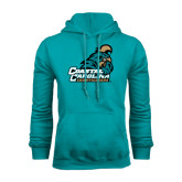Champion Teal Fleece Hood-Official Logo
