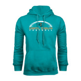 Teal Fleece Hoodie-Arched Football Design