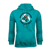 Teal Fleece Hoodie-Volleyball Circle Design