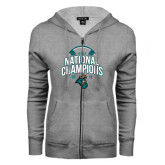 ENZA Ladies Grey Fleece Full Zip Hoodie-2016 NCAA College World Series Baseball Champions