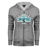 ENZA Ladies Grey Fleece Full Zip Hoodie-2016 NCAA Baseball National Champions