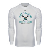 Under Armour White Long Sleeve Tech Tee-Lacrosse Crossed Sticks Design