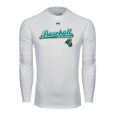 Under Armour White Long Sleeve Tech Tee-Baseball Script w/ Bat Design