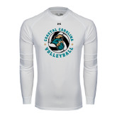 Under Armour White Long Sleeve Tech Tee-Volleyball Circle Design