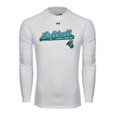 Under Armour White Long Sleeve Tech Tee-Script Softball w/ Bat Design