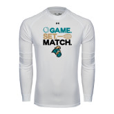 Under Armour White Long Sleeve Tech Tee-Game. Set. Match. Tennis Design